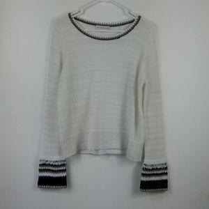 White + Warren Boho Open Knit Fringe Sweater